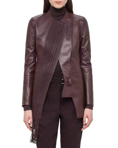 jaket kulit rajut wanita warna coklat