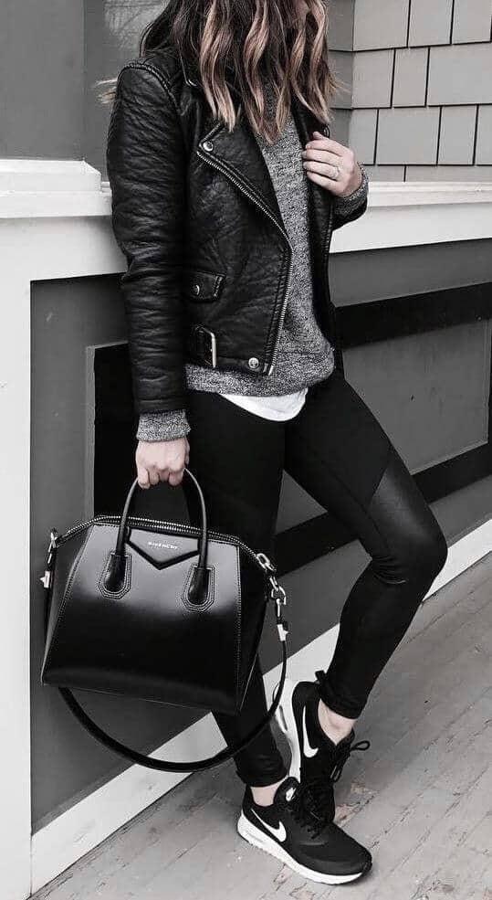 jaket kulit wanita casual santai