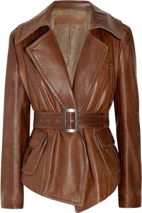 jaket kulit wanita warna coklat klasik yang keren