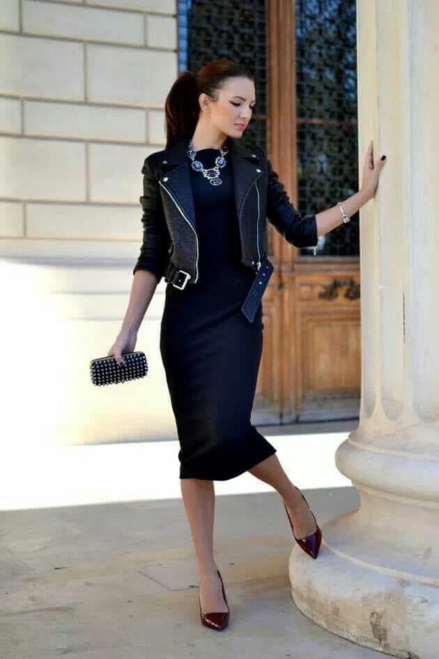 mix and match jaket kulit wanita dengan LBD