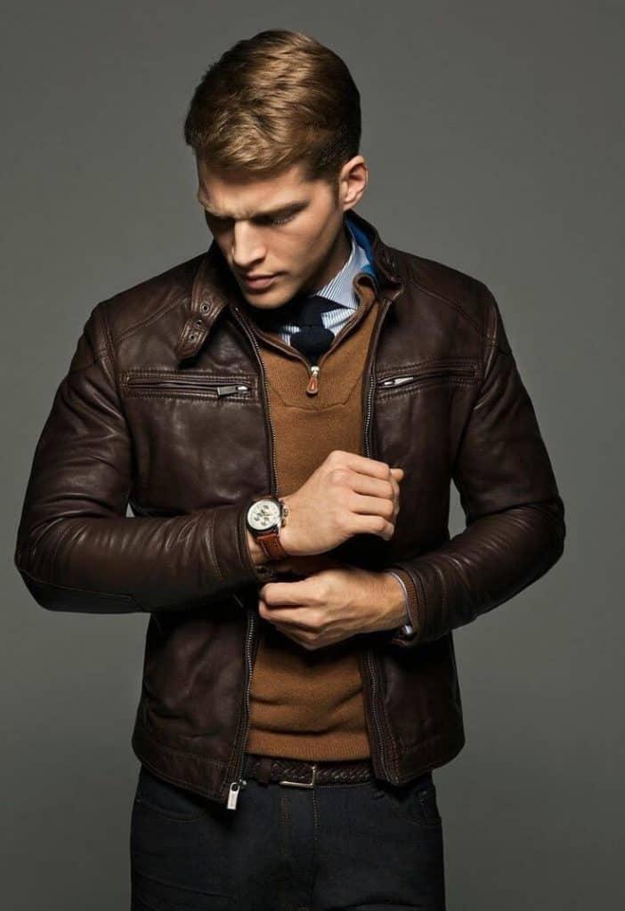 jaket kulit pria model slim fit