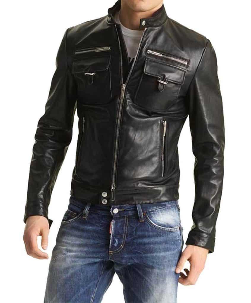 jaket kulit slim fit pria