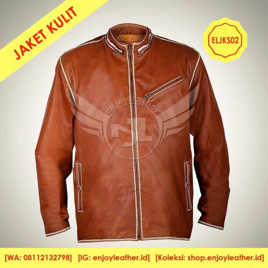 jaket kulit sulam depan buatan Enjoy Leather Garut
