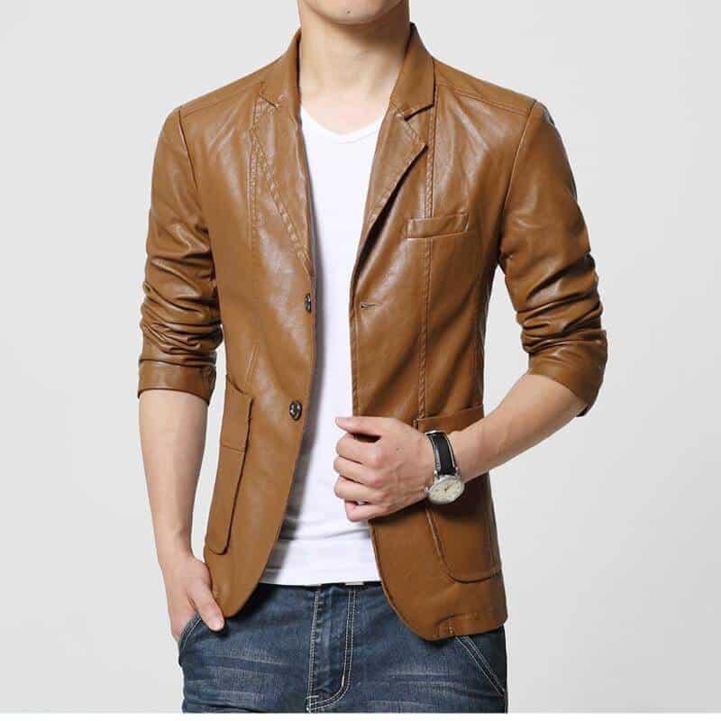 model jaket kulit pria terbaru motif jas warna coklat
