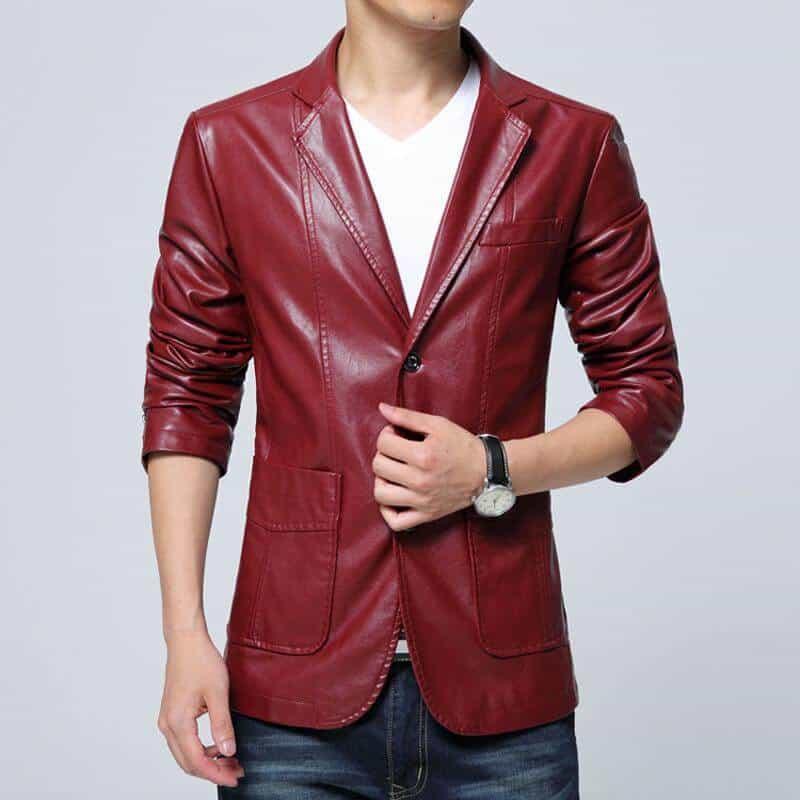 model jaket kulit pria terbaru motif jas warna tan