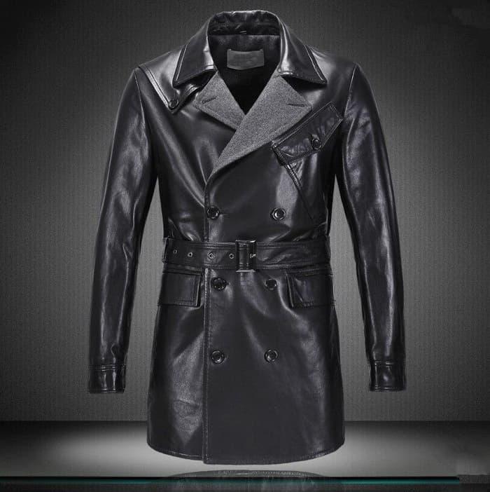 model jaket kulit pria panjang