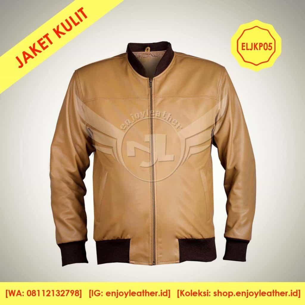 jaket kulit warna coklat muda model bomber untuk pria tampak depan
