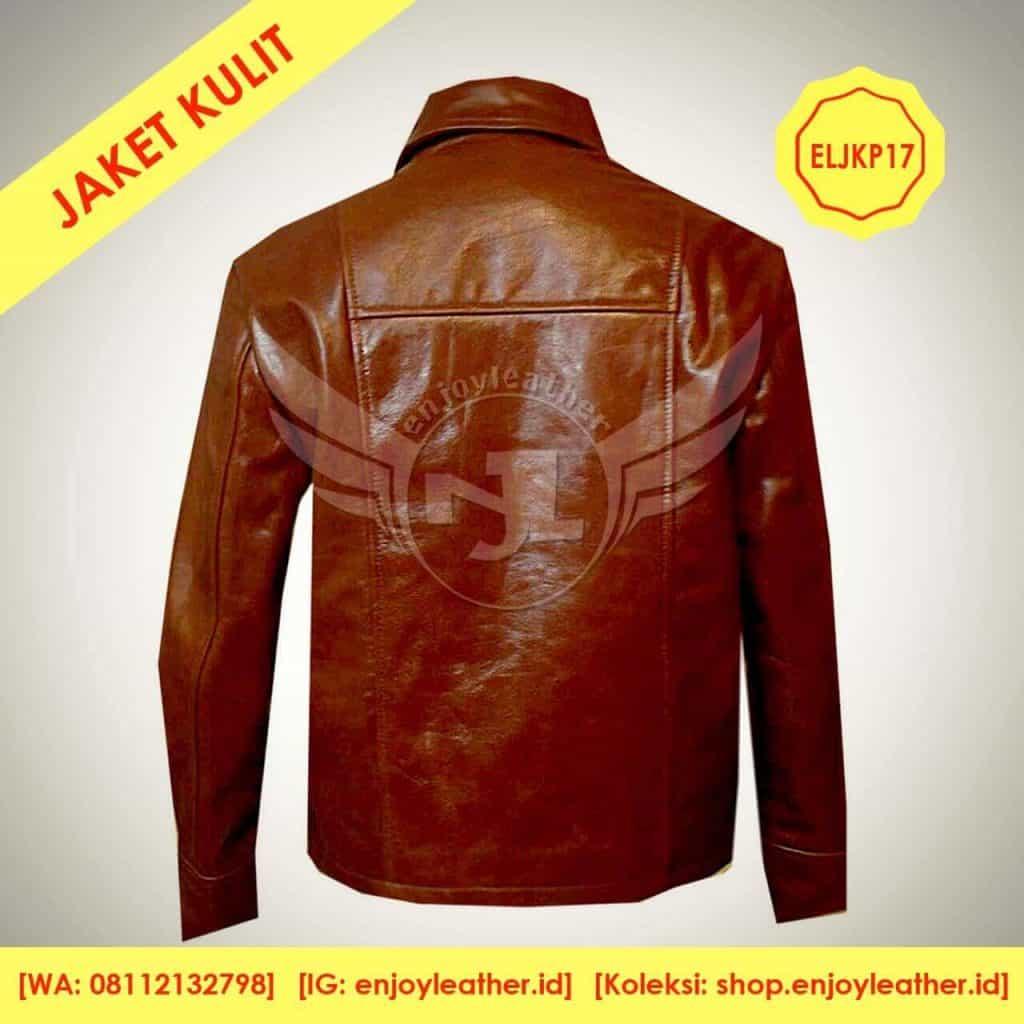 Jaket Kulit Coklat Tua Kopi untuk Pria Model Terbaru