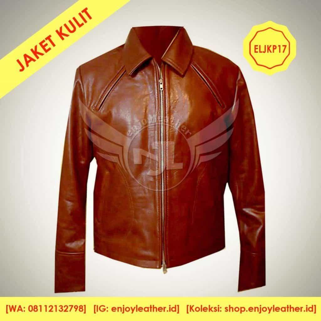 Jaket Kulit Coklat Tua untuk Pria Model Terbaru