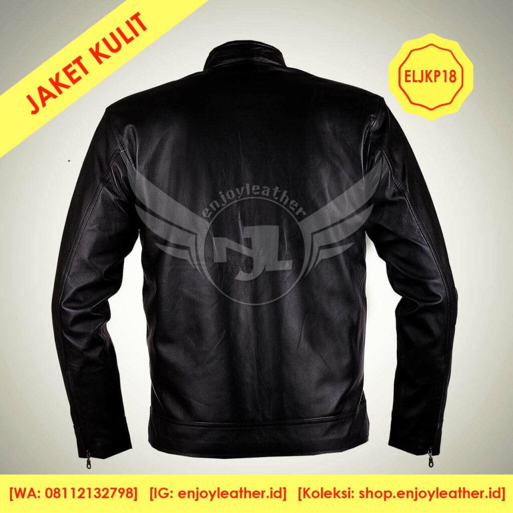 Jaket Kulit Hitam Original Pria Model Terbaru nampak belakang
