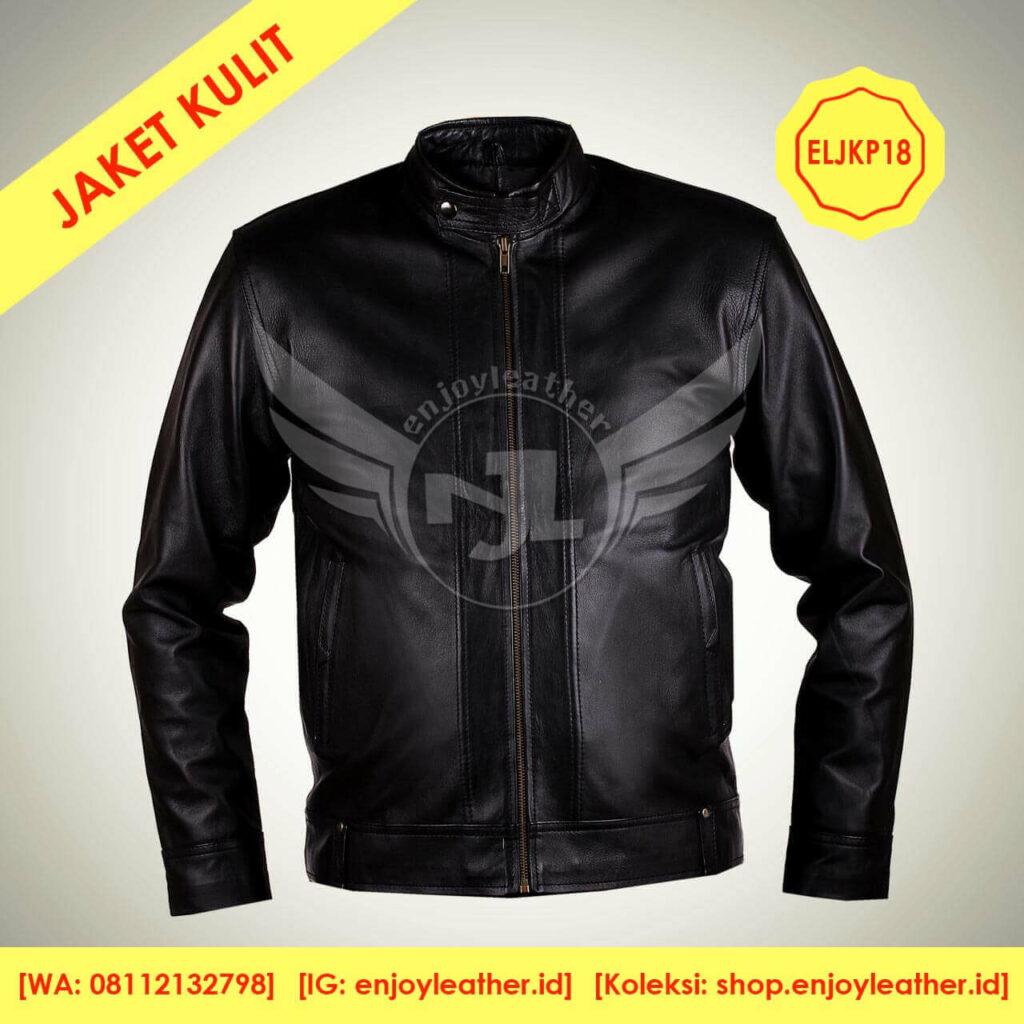 Jaket Kulit Hitam Original Pria Model Terbaru nampak depan