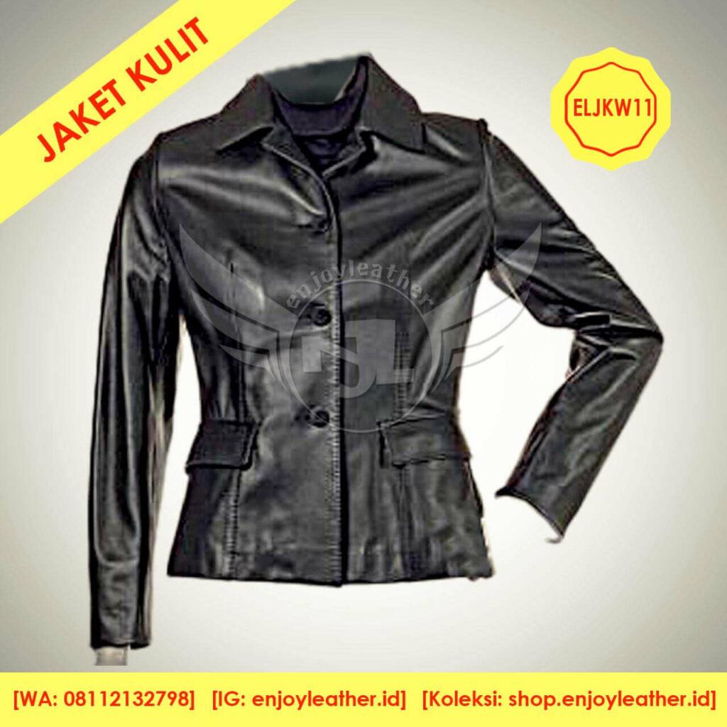 Jaket kulit hitam wanita model berkerah terbaru nampak depan